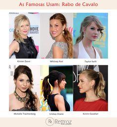 Confira os cabelos presos das celebridades que optaram por rabos de cavalos. Inspire-se para usar  no dia a dia ou até mesmo durante a noite.