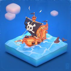 Ship Games, Game Ui Design, Mobile Game, Low Poly, Game Art, Pirates, Artwork, 3d Cartoon, Concept Art