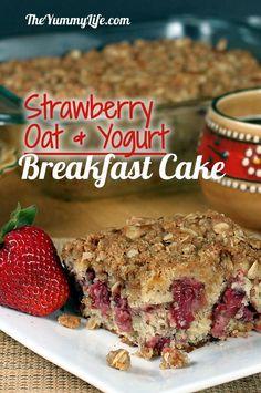 Strawberry Oat Yogurt Breakfast Cake. With a streusel topping & hearty whole grain goodness. www.theyummylife.com/strawberry_yogurt_breakfast_cake