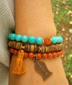 *Triple Mala set includes:  Turquoise, Coconut shell beads, gold vermeil, Rudraksha seed, Thai Buddha pendant and gold tassel...