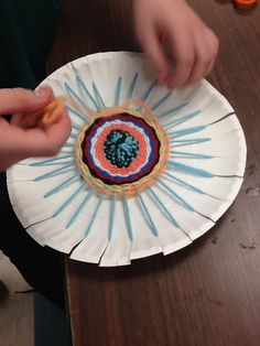 Art Club Weaving on Paper Plates