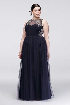 Looking for pretty plus size prom dresses? Shop David's Bridal for prom gowns and Hoco dresses available in sizes Shop online or book an appointment in store near you online! Plus Size Long Dresses, Bridesmaid Dresses Plus Size, Prom Dresses For Teens, Prom Dresses Blue, Short Dresses, Formal Dresses, Plus Size Gala Dress, Plus Size Homecoming Dresses, Illusion Neckline Dress