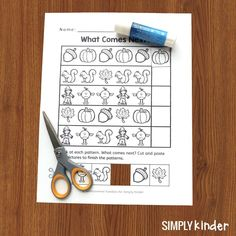 Keep math prep to a minimum with these FREE Fall math worksheets. We've included pattern work, a simple graphing exercise, and comparing two numbers. #kindergarten #freeprintablesforkids #mathworksheets #fallactivities Numbers Kindergarten, Teaching Kindergarten, Preschool, Teaching Calendar, Cut And Paste, Autumn Activities, Instagram Quotes, Math Worksheets, Math Centers