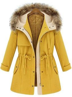 Catching Long Sleeve Drawstring Design Yellow Coat for Winter | Rosewe.com
