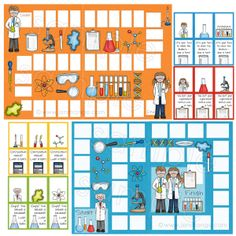 Assemble these file folder games and customize the accompanying blank cards (fully editable) to whatever content fits your needs! Teaching Science, Science Activities, Teaching Strategies, Teaching Ideas, Board Game Template, Kindergarten, Powerpoint Games, Board Game Design, 5th Grade Science