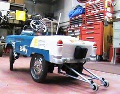 1955 Chevy Pedal car | Kudos to anyone who can pedal fast enough off the line to make the wheelie bars necessary! :)