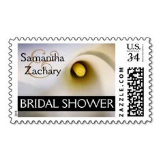 Personalized calla lily bridal shower postage stamps. Completely customizable (names and other text, fonts, colors, etc). Other matching products available for am entire invitation and party goods ensemble. #calla #lily #callalily #wedding #bridal #shower #postage #stamps