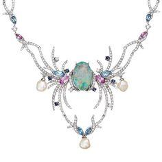 Sarah Ho Royal Plume Necklace with Opal, Aquamarine, Sapphire, Diamond and Pearl