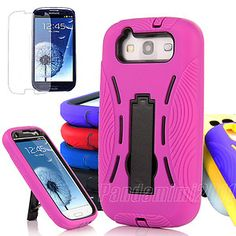 For Samsung Galaxy S 3 III S3 Impact Hybrid Hard Kickstand Cover Case+Film Guard Competitive price with high quality and good customer service.  The case with a cute hidden stand,it never be the ugly obstacle.  I can watching movie,videos with your cellphone.  Convenient,Equisite designer,Lowest Price,High quality,Fashionable.