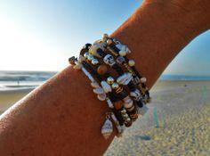 Bohemian Skulls Surfer Girl Style Wrap Around Seashell Bracelet/Anklet Beach Jewelry
