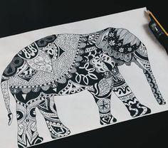 tribal mandala elephant painting by me