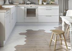 Kitchen floor tile - wood Tile Transition To Hardwood Küchen Design, Floor Design, Design Ideas, Carpet Design, Creative Design, Interior Design, Kitchen Tiles, Kitchen Flooring, Kitchen Wood