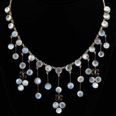 "cgmfindings: "" Arts & Crafts Silver Gilt Moonstone Trefoil Festoon Necklace…"
