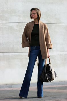 Camel coat + Tee + Jeans