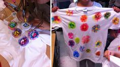 Art Projects for Kids: Tie-Dye Looking T-Shirts (will do on tote bags)
