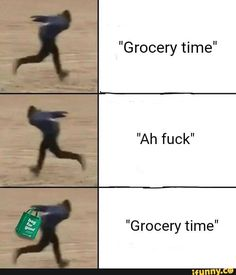 """""""Grocery time"""" """"Ah fuck"""" """"Grocery time"""" - iFunny :) Funny Naruto Memes, Pewdiepie, Daily Memes, Insta Photo, Funny Fails, Cool, Popular Memes, Funny Images, Dankest Memes"""