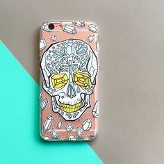 Clear TPU Case Cover - Encrusted Skull