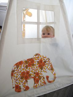 Tipi teepee tent, spendy but so cute! Vintage animal appliques by moozlehome on Etsy.