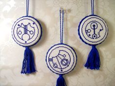 Doctor Who Gallifreyan Ornaments KIT -- Fantastic, Allons-y, Geronimo -- by JumblePie on Etsy