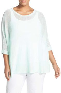 Eileen Fisher Organic Linen Mesh Knit Bateau Neck Top (Plus Size)