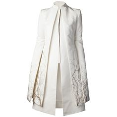 GARETH PUGH tree embroidered coat (€3.715) ❤ liked on Polyvore featuring outerwear, coats, dresses, jackets, coats & jackets, long sleeve coat, leather-sleeve coats, long coat, embroidered coat and embroidered white coat