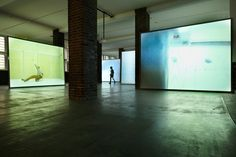 Peter Welz in collaboration with william forsythe whenever on on on nohow on | airdrawing five channel video installation, loop on 5 DVD's running simultaneously, photo: klaus peter hoppe installation view Museum für Moderne Kunst, Frankfurt