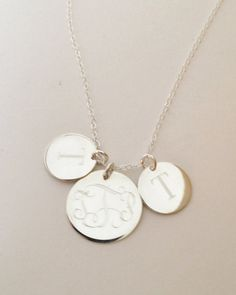 Mothers Necklace Monogrammed Necklace in Sterling Silver with Three Discs Engraved on Etsy, $39.00