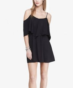 Look at this Pitch Black Ruffle-Overlay Off-Shoulder Dress on #zulily today!