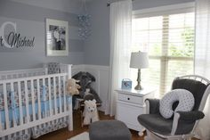 Project Nursery - Boy Gray Striped Nursery Room View