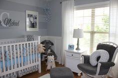 Project Nursery - Boy Gray Striped Nursery Room View
