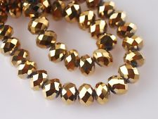 200pcs 3x4mm Faceted Rondelle Loose Spacer Crystal Glass Beads Gold Plated