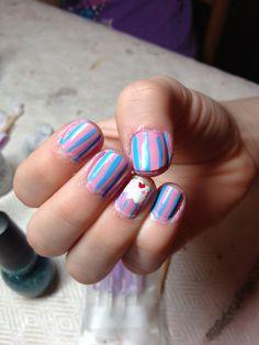 Pink and blue cupcake nail art