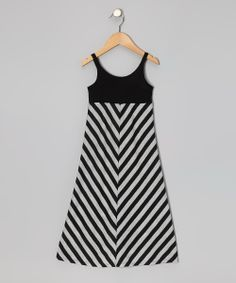 Black & Gray Stripe Maxi Dress - Toddler & Girls | Daily deals for moms, babies and kids