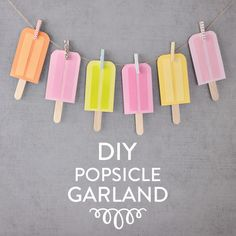 DIY Popsicle Garland - Vicky Barone, This DIY Paper Popsicle Garland Craft is perfect for summer party decor! Summer Diy, Summer Crafts, Diy Mother's Day Brunch, Diy Eis, Popsicle Party, Summer Party Decorations, A Little Party, Diy Papier, Diy Garland