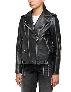 Replay Women's Women's Leather Black Biker Jacket With Studs in Size S Black