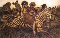 "Wladyslaw Theodor Benda::Zebra Riders ""Butterflies and zebras And moonbeams and fairy tales That's all she ever thinks about Riding with the wind. Beauty Illustration, Magazine Illustration, Rolf Armstrong, Purple Love, Art Studies, New Jersey, Illustrators, Fisher, Fairy Tales"