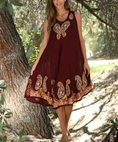 This Ananda's Collection Burgundy & Gold Embroidered Sleeveless Dress - Women by Ananda's Collection is perfect! #zulilyfinds