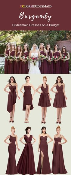 These burgundy red bridesmaid dresses both in knee-length and floor-length are custom-made to all sizes and sold under 100. What affordable and cheap these dresses are!