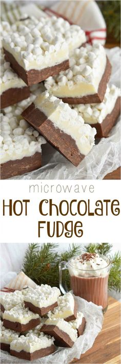 This Hot Chocolate Fudge Recipe brings two of your favorite winter desserts together. Hot cocoa and rich fudge topped with marshmallows! The perfect holiday treat. #hot