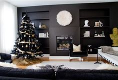 black Christmas tree decorating ideas