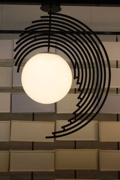 The partial rings around the globe shade are an atypical construct for the fixture.