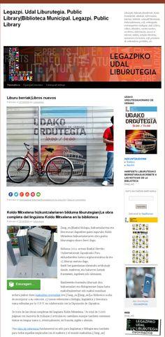 Legazpiko Udal Liburutegiaren blogaren azala|Portada del blog de la Biblioteca Pública de Legazpi