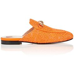 Gucci Women's Princetown Lace Slippers (213.890 HUF) ❤ liked on Polyvore featuring shoes, slippers and orange