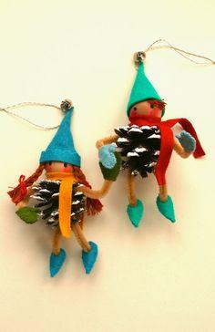 mmmcrafts: handmade gifts 2013, part 1. Pinecone elf ornaments a la Martha Stewart