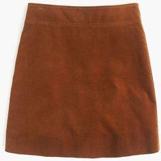 J.Crew Petite Mini Skirt ($60) ❤ liked on Polyvore featuring skirts, mini skirts, petite, short brown skirt, long skirts, mini skirt, j. crew skirts and brown corduroy skirt