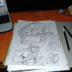 #drawing #heman#ink#pencil #pen #mastersoftheuniverse#dibujo #he man#skulls #skeletors by walogerben