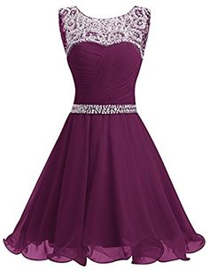 Dresstells® Short Chiffon Open Back Prom Dress With Beading Homecoming Dress: Amazon.co.uk: Clothing