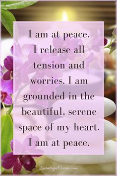Quotes Sayings and Affirmations Use this simple peaceful affirmation to help yourself release tension and stress. Remember the inner oasis of serenity that is your beautiful heart. Become grounded in peace again. Positive Thoughts, Positive Vibes, Positive Quotes, Morning Affirmations, Positive Affirmations, Prosperity Affirmations, Healing Affirmations, Yoga Quotes, Life Quotes