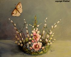 Spring Nest Fairy Crown, original painting on canvas.  sold