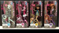 Monster High Original Ghouls Collection (Original Favourites re-rereleased) (from left) Frankie Stein, Draculaura, Cleo de Nile, Clawdeen Wolf